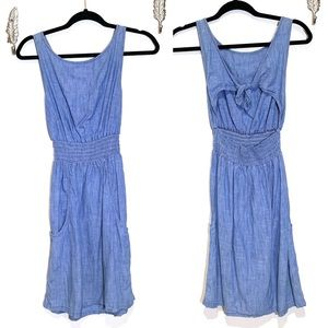 7FAM Chambray Smocked Waist Tie Back Dress